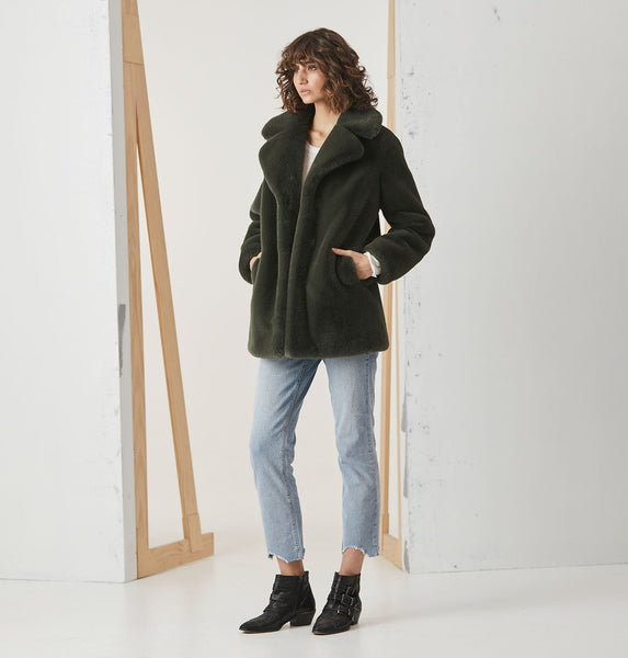 Minimalist Faux Fur Jacket - Forest