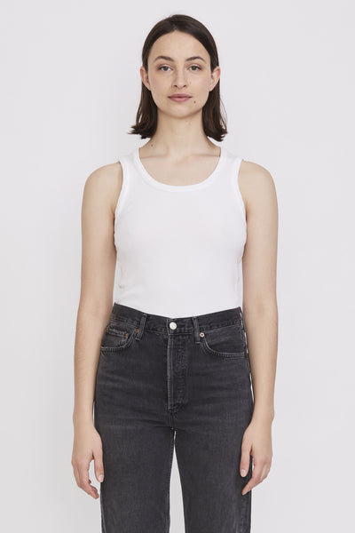 Poppy Scoop Neck Tank White - Maplestore