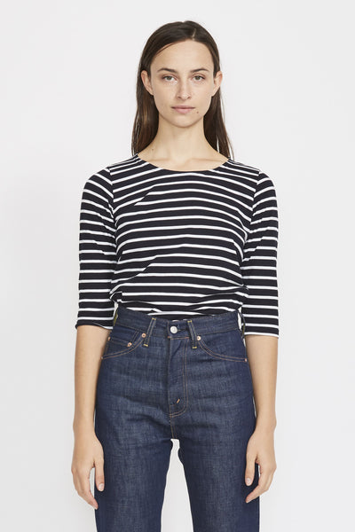 Cap Coz Breton 3/4 Sleeve Top . Rich Navy/White - Maplestore
