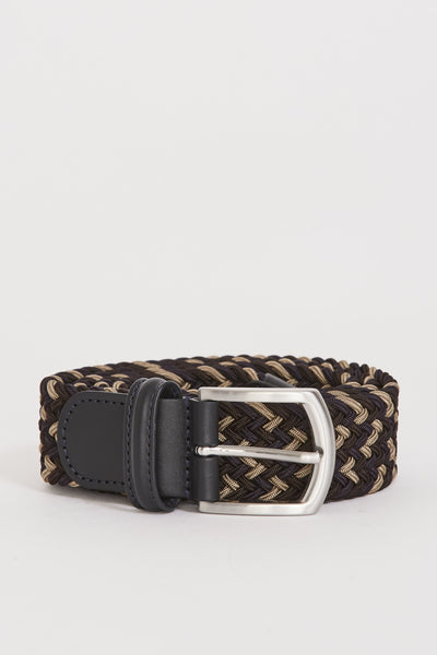 Woven Textile Belt Brown/Taupe/Navy - Maplestore