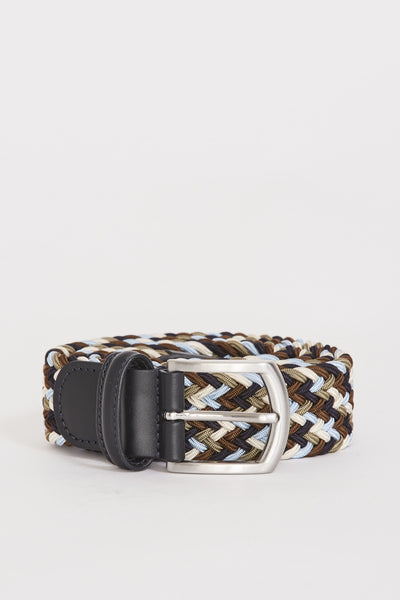Woven Textile Belt Navy/Sky/Taupe/Cream - Maplestore