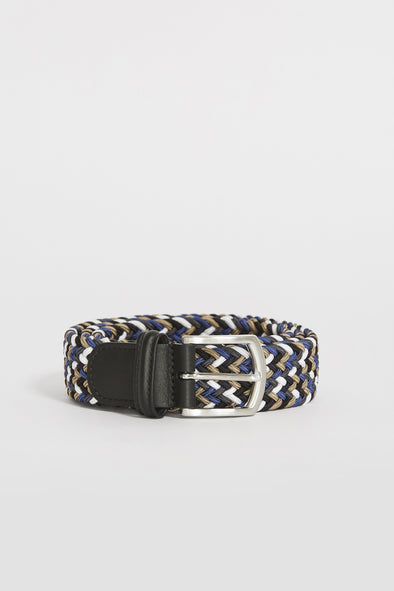 ANDERSON'S Woven Textile Belt . Khaki/White/Royal - Maplestore