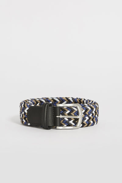 Woven Textile Belt Taupe/White/Blue/Navy - Maplestore