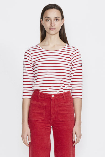 Cap Coz Breton 3/4 Sleeve Top . White/Dark Red - Maplestore