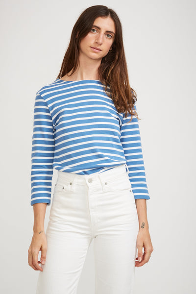 Mariniere 3/4 Sleeve Heritage Top Ozero Blue/White - Maplestore