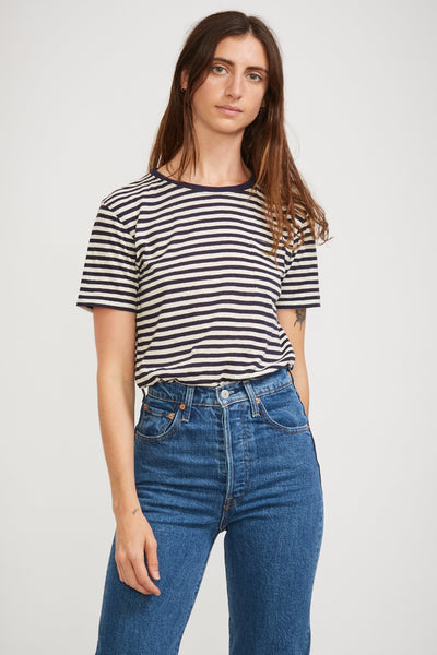 Heritage Stripe Tee Navire/Nature Womens - Maplestore