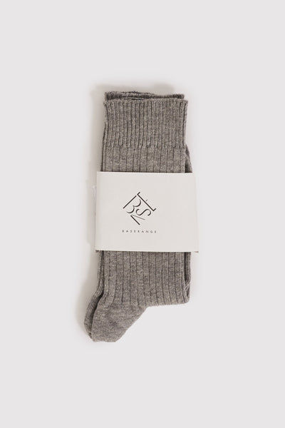 Rib Ankle Socks Grey Melange - Maplestore