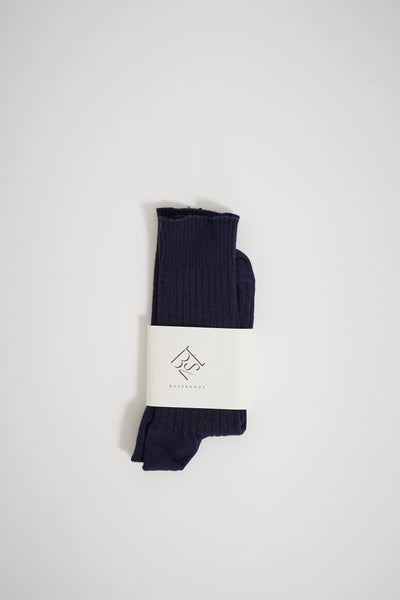 Rib Ankle Socks Blue - Maplestore