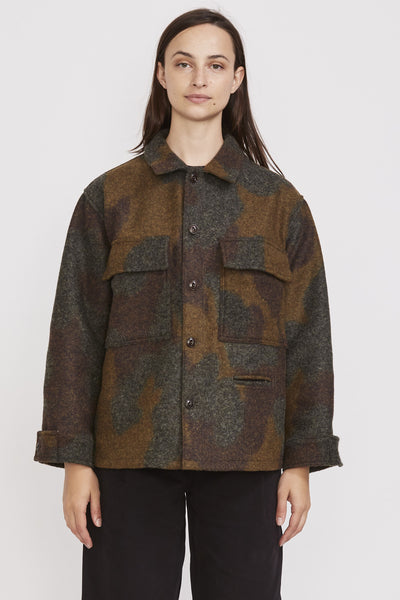 Worker Shirt Wool Camo Khaki - Maplestore