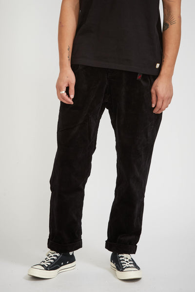 Corduroy Tuck Tapered Pants Black - Maplestore