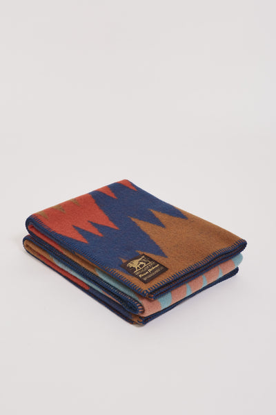 Mountain Dazzler Pure Wool Blanket Brown/Coral Pink/Navy/Turq - Maplestore