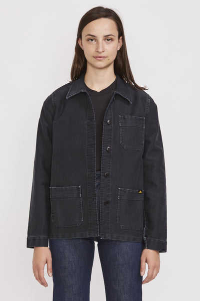 Vintage Washed Work Jacket Black - Maplestore