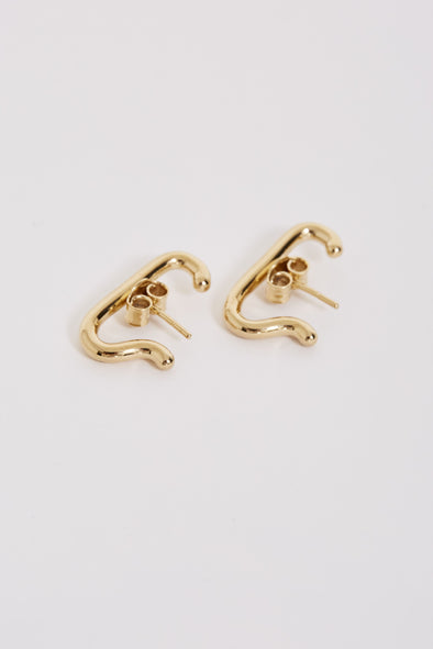 Meadowlark Sculpture Cuff Earrings Gold Plated