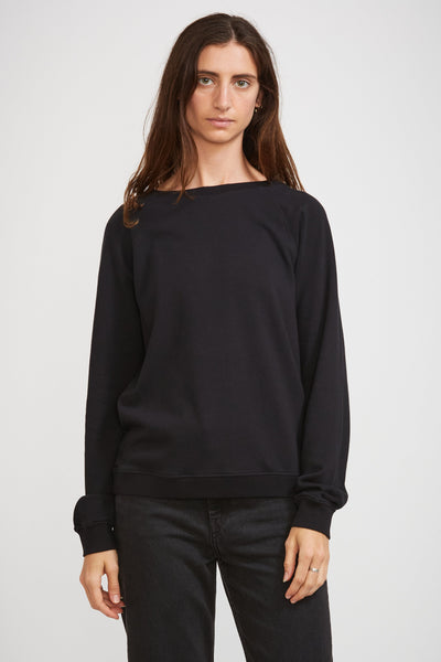 GOOD BASICS | Women's Crew Neck Sweatshirt Deep Black - Maplestore
