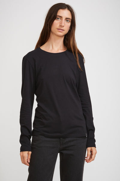 GOOD BASICS | Women's Crew Neck Tee 1/1 Slv Deep Black - Maplestore