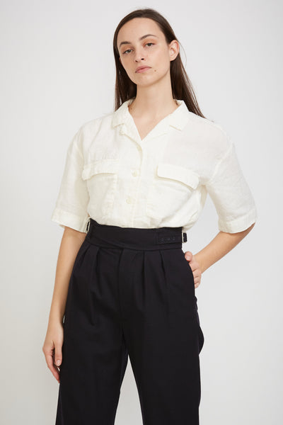 Open Collar Shirt Half Sleeve White - Maplestore