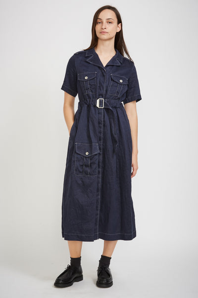 Mechanics Linen Dress Navy - Maplestore