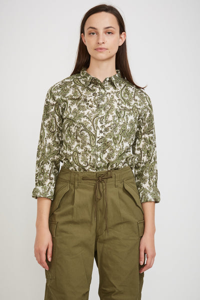 Basic Shirt Green Paisley - Maplestore