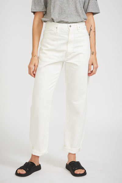 High Waist Denim Pant White - Maplestore