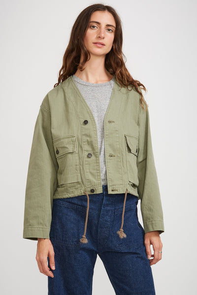 USMC V Neck Herringbone Twill Jacket Green Used - Maplestore