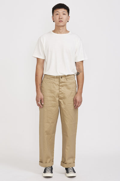 Vintage Fit Army Trousers Khaki - Maplestore