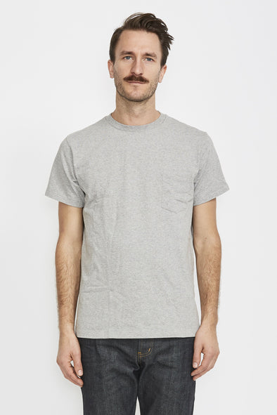 VELVA SHEEN Crew Pocket Tee . Heather Grey