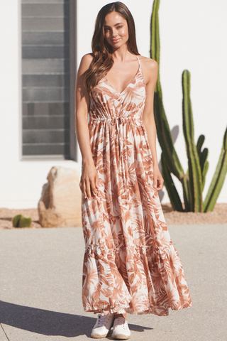 Honeysuckle print Reef Maxi Dress