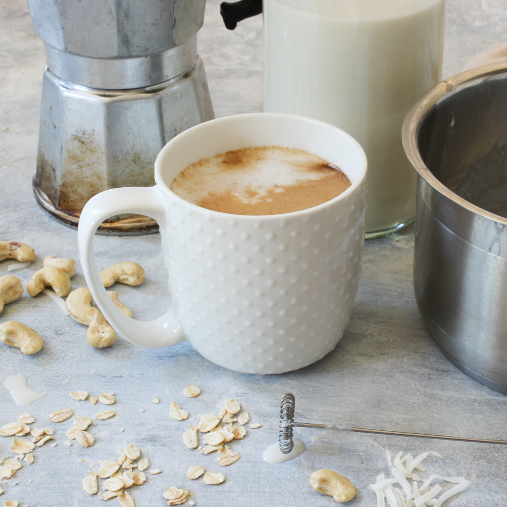 Cashew, coconut & oat milk that heats and froths like a dream