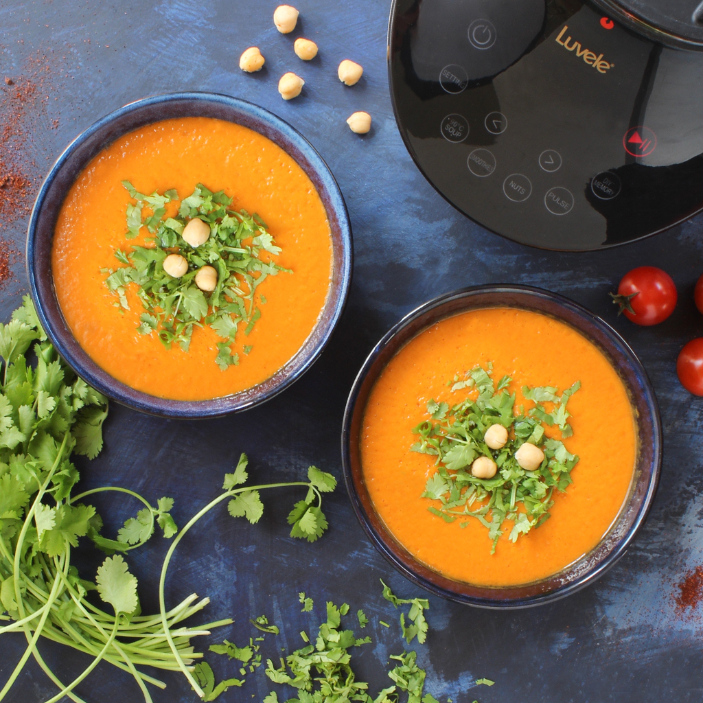 5-minute Moroccan spiced chickpea blender soup