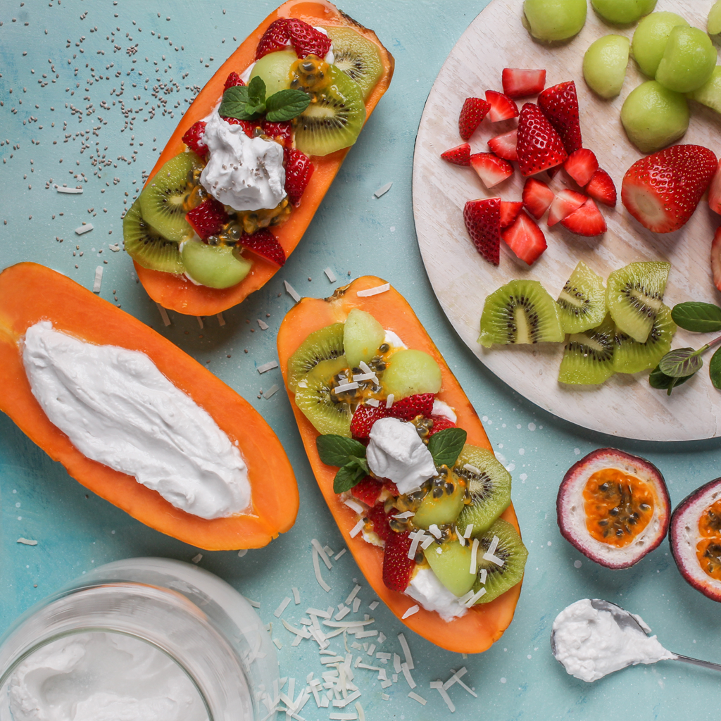 Gut loving yogurt papaya boats