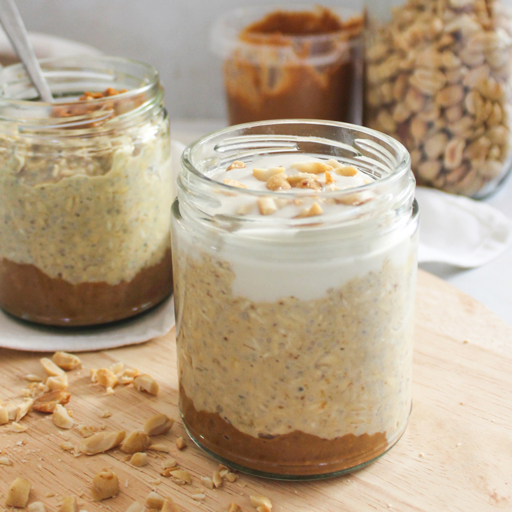 Peanut butter & yogurt overnight oat jars