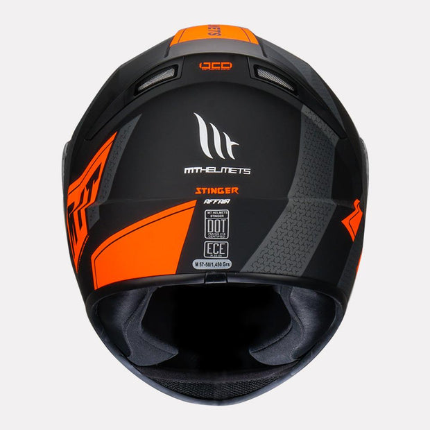 MT Stinger Affair Helmet orange back view