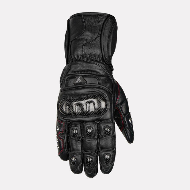 ASPIDA Ares Full Gauntlet Leather Gloves black front