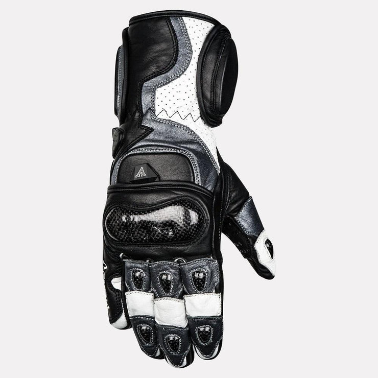 ASPIDA Ares Full Gauntlet Leather Gloves grey front