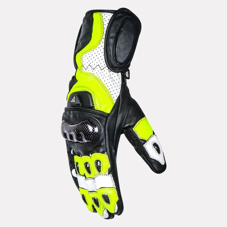 ASPIDA Ares Full Gauntlet Leather Gloves fluorescent yellow side