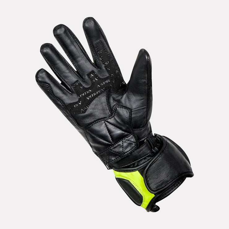 ASPIDA Ares Full Gauntlet Leather Gloves fluorescent yellow palm