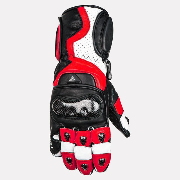 ASPIDA Ares Full Gauntlet Leather Gloves red front