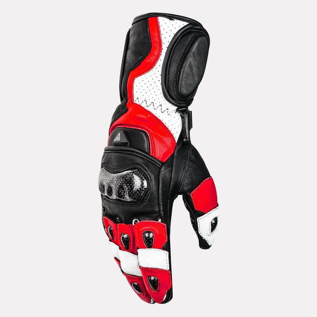 ASPIDA Ares Full Gauntlet Leather Gloves red side