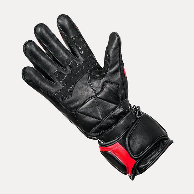 ASPIDA Ares Full Gauntlet Leather Gloves red palm