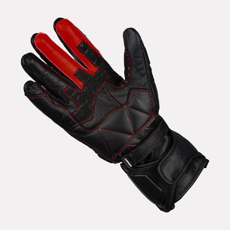 ASPIDA Ares Full Gauntlet Leather Gloves black palm