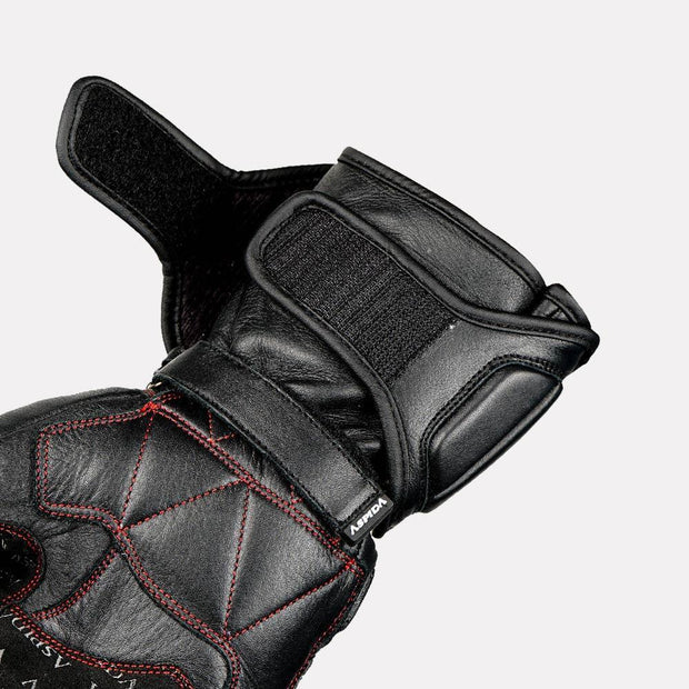 ASPIDA Ares Full Gauntlet Leather Gloves black strap