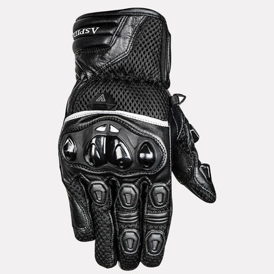 ASPIDA Phaeton Short Cuff Mesh & Leather Gloves black front