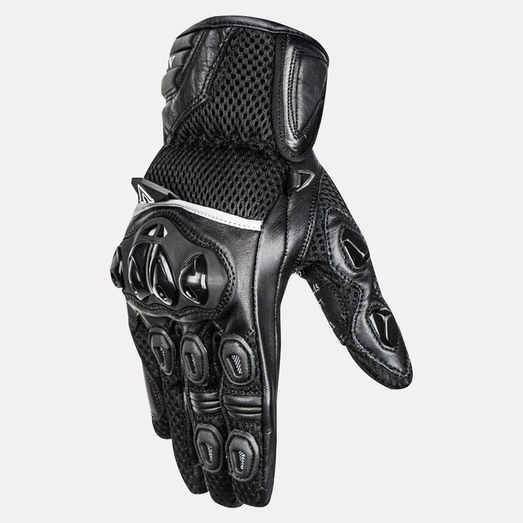 ASPIDA Phaeton Short Cuff Mesh & Leather Gloves black side