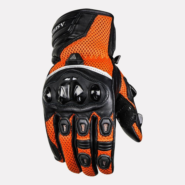 ASPIDA Phaeton Short Cuff Mesh & Leather Gloves orange front