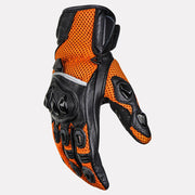 ASPIDA Phaeton Short Cuff Mesh & Leather Gloves orange side