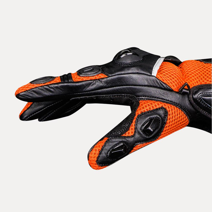 ASPIDA Phaeton Short Cuff Mesh & Leather Gloves orange