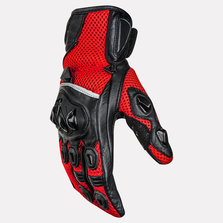 ASPIDA Phaeton Short Cuff Mesh & Leather Gloves red side