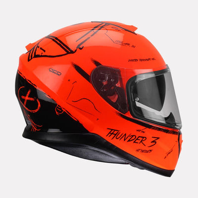 MT Thunder Board helmet fluorescent orange side view