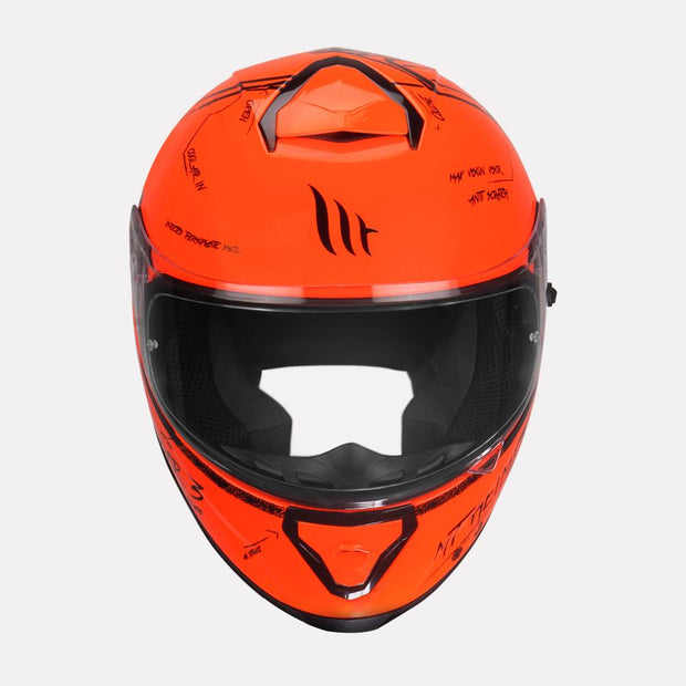 MT Thunder Board helmet fluorescent orange front view