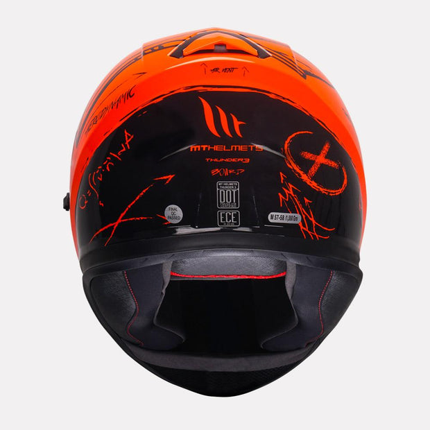 MT Thunder Board helmet fluorescent orange back view